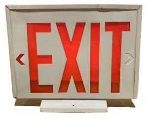EXIT SIGN LIGHT UP LAMP WHITE/RED 14.5x12 Inches Electric, Home Made, Man Cave