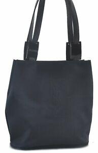 Authentic YVES SAINT LAURENT Shoulder Hand Bag Nylon Leather Black C2200