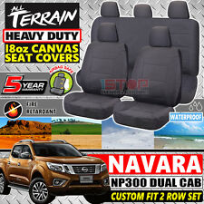 NISSAN NAVARA NP300 DUAL CAB GREY 18oz CANVAS SEAT COVERS DX RX SL ST ST-X D23