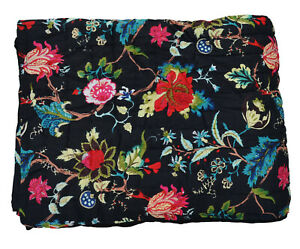 Pure Cotton Quilt Blanket Ethnic Bedspread Winter Warm Razai Coverlet Queen Size