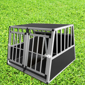 Dog Cage Double Door Large Pet Transport Crate Cars Boot Carrier Removable Panel
