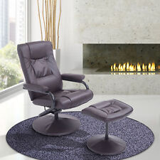 HOMCOM Contemporary Recliner Chair and Ottoman Set Swivel Armchair W/ Base Brown