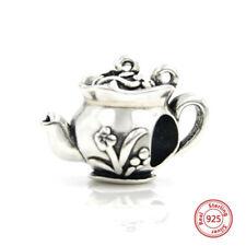 100% 925 Sterling Silver Vintage Flowers Teapot Charm Beads Pandora