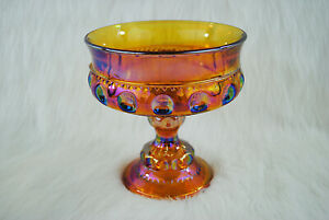 Vintage Collectible Carnival Depression Glass Kings Crown Thumbprint Goblet
