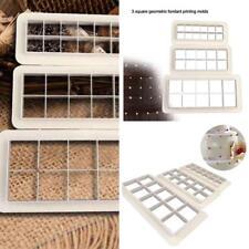 3Pcs Geometry Square Cookie Cake Mold Fondant Decorating Tools Baking