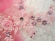 "Embroidered 3D Applique Pink Floral Sequin Ballet Dance Costume Patch 14"" (DH70)"