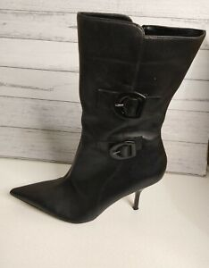BON BONS Wild Cat Size 10 Black Leather Above Ankle Pointed Boots Heeled