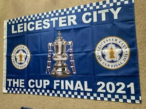 Leicester City Cup final Flag 5x3 ft with sleeve for stick - next day delivery