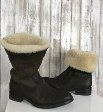 HTC Hollywood Trading Company Womens Brown Suede Shearling Wool Stud Boots 39