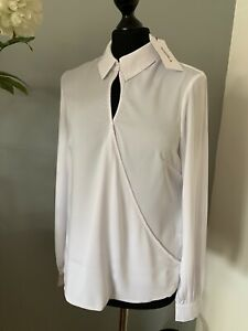 WHITE WRAP BLOUSE WITH COLLAR UK 8