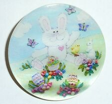 """Easter Bunny Rabbit & Baskets on Mother of Pearl Button - MOP Button 1-3/8"""""""