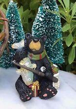 Miniature Dollhouse FAIRY GARDEN ~ Mini CHRISTMAS Black Bear Fishing ~ NEW