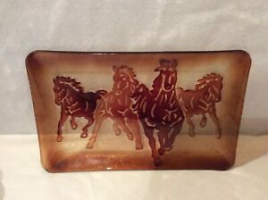 CRACKER BARRELGLASS RIDING COUNTRY HORSES SERVING TRAY