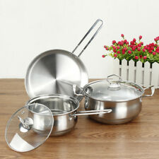 3PC Set Home High Quality Stainless Steel Pot Fry Pan Cookware Kitchen Utensils