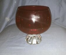 Vintage/Retro Scandinavian Aseda? Ruby & Clear Glass Vase, Lobed Foot.