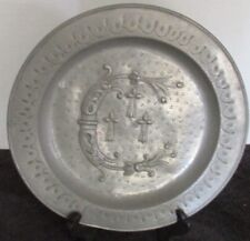 """Antique Pewter Plate Plaque Coat Of Arms Signed L Giubard & Crown Mark 9"""""""
