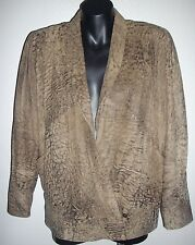 80's RETRO VINTAGE MOTLED BROWN LEATHER JACKET WOMENS SIZE 10 to 14