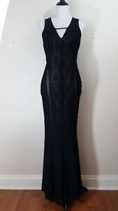 GUESS Los Angeles Maxi Dress Long Gown Elegant Sexy Black Sheer Stretch Size S