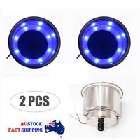 2PCS Stainless Steel Cup Drink Holder With 8 LED Blue Light For Car Boat Marine