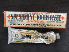 VINTAGE 1920s WRIGLEYS SPEARMINT TOOTHPASTE w BOX WRIGLEY'S CHEWING, BUBBLE GUM