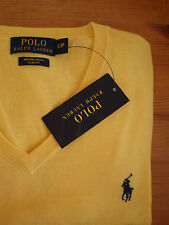 £125 Ralph Lauren Slim-Fit 100% Merino Wool V-Neck Gold Yellow Jumper S 36/37/38