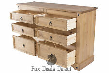 Corona Mexican Solid Waxed Pine 3 Plus 3 Drawer Wide Chest Bedroom Furniture
