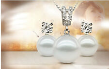 !!New White Circle Shape Natural Freshwater Pearl Pendant Necklace+Stud Earring