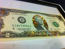 LOT OF 14 2 dollar  22 K GOLD $ 2 DOLLAR BILL-HOLOGRAM COLORIZED + 1 FREE