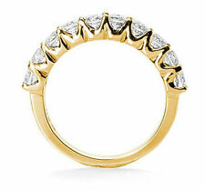 10 Round Diamond Anniversary Ring 14k Yellow Gold Anniversary Band G 1.01 tcw