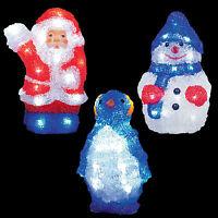 LED 22cm Battery Light up Acrylic Christmas Decoration Snowman Santa or Penguin