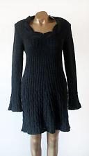 Next gris foncé laine mélangée doux à Manches Longues en Tricot Torsadé Pull Robe Bnwt Taille 12