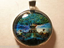 Tree of life Sacred Cabochon Glass Tibet Silver Chain Necklace