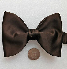 "Brown satin big bow tie Akco English vintage 1960s 1970s 13 - 18.5"" acetate"