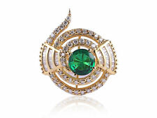 Ring In Solid Certified 14K Gold Pave 4.50 Cts Natural Diamonds Emerald Cocktail