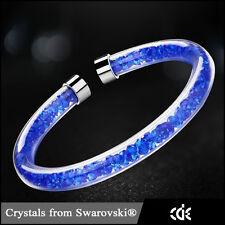 Lusso Crystaldust Bracciale Con Cristalli Swarovski Blu Acciaio Inox Nuovo
