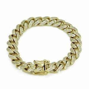 "Mens Curb Miami Cuban Link 8.5"" Bracelet 14k Gold Plated 12mm *6ct Lab Diamonds*"