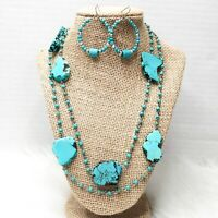 Chico's Turquoise Set Matching Long Necklace Hoop Earrings Beaded Silver Jewelry