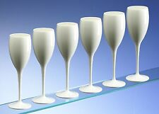Polycarbonate High Quality White Champagne Flutes 180ml / 6oz (set of 6)