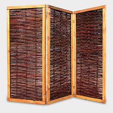 Weiden-Paravent Raumteiler 160x180 cm (HxL) 3-teilig aus Weide geflochten + Holz
