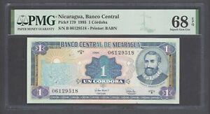 Nicaragua One Cordobas  1995 P179 Uncirculated Graded 68 Top Pop