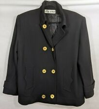 Ilie Wacs Vintage Black Jacket Coat Saks Fifth Avenue Vtg Buttons Pockets 14