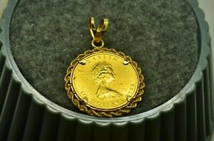 1983 CANADA $10 GOLD MAPLE LEAF IN A 14K YELLOW GOLD ROPE BEZEL PENDANT KM#136