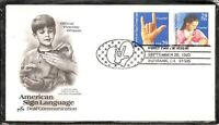US SC # 2784a Deafness / Sign Language FDC. Artcraft Cachet
