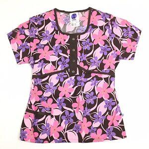 Landau FX Women's Size 7/9 Pink/Brown Floral Mock Wrap Scrub Top