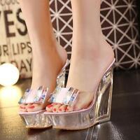 Women's Transparent High Platform Open Toe Wedge Heel Sandals Casual Party Shoes