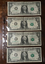 Rare U.S. Star Note Instant Collection Lot Of 4 One Dollar Bill Serial Number