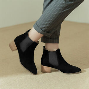 Women Chelsea Pointed Toe Pull On Ankle Boots Chunky Block Mid Heel Suede Shoe