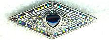 """925 Sterling Silver Black Onyx Heart & Marcasite Brooch  Width 1.3/4""""  5.7 gram"""