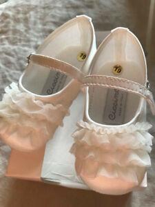 CUTE! New in Box! Ciccino Baby Shoes White Scarpina Bimba Size 19