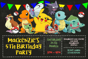 Personalised Pokemon Multi Character Birthday Party Invites inc Envelopes P2
